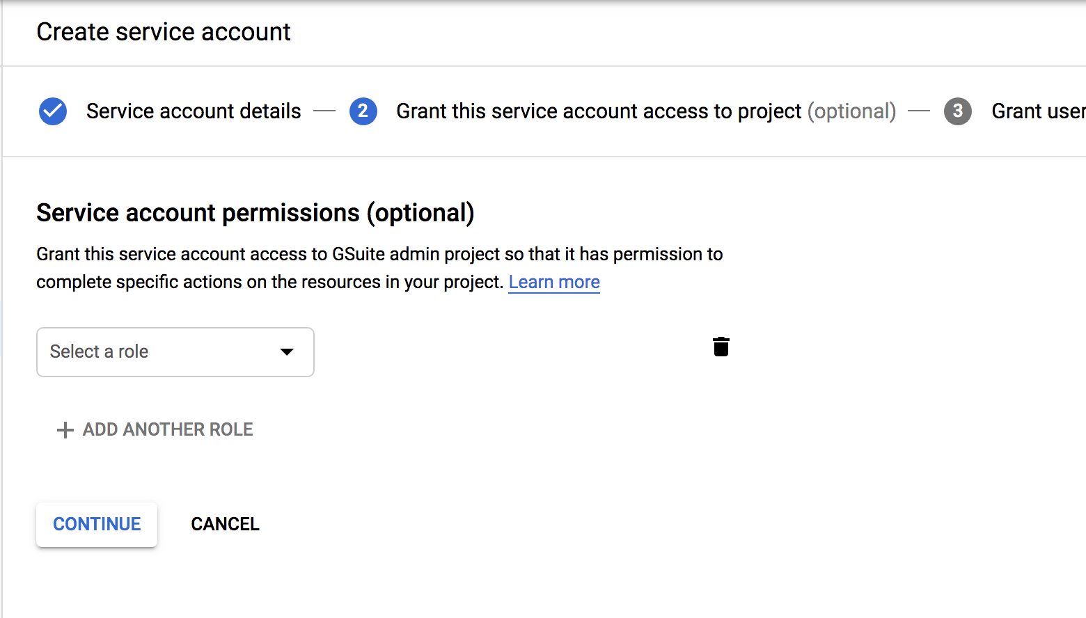 Service account creation Step 2